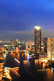 Bangkok city at riverside in twilight Royalty Free Stock Photo