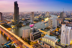 Bangkok city scape at evening to night time Royalty Free Stock Images