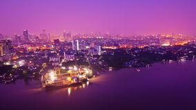 Bangkok city scape at nighttime. Panorama view of Bangkok city scape at nighttime stock images