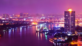 Bangkok city scape at nighttime. Panorama view of Bangkok city scape at nighttime Royalty Free Stock Photography