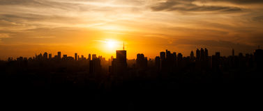 Bangkok city silhouette view, Thailand Royalty Free Stock Images