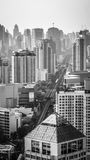 Bangkok city. And sky train in black and white tone Stock Images