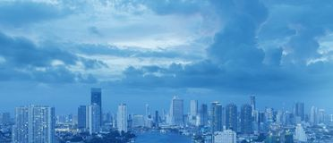 Bangkok city skyline aerial view. In blue tone with beautiful sky royalty free stock images