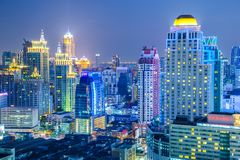 Bangkok City skyline aerial view at night time. And skyscrapers of midtown bangkok Royalty Free Stock Photos