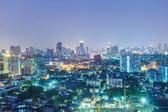 Bangkok City skyline aerial view at night time and skyscrapers of midtown. Bangkok Stock Image