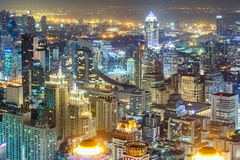 Bangkok City skyline aerial view at night time and skyscrapers of midtown bangkok.  royalty free stock images