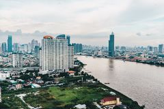 Bangkok city skyline as seen from above aerial view photography Royalty Free Stock Image