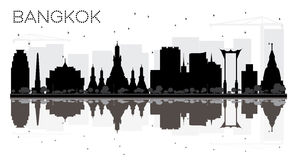 Bangkok City skyline black and white silhouette with reflections. Vector illustration. Simple flat concept for tourism presentation, banner, placard or web Royalty Free Stock Photo