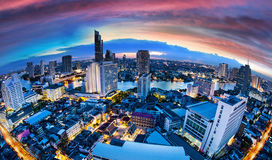 Bangkok City Skyline with chaophya river, Thailand. Royalty Free Stock Photography
