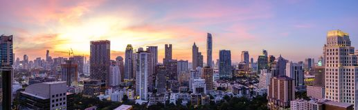 Bangkok City Skyline Downtown Area At Twilight Royalty Free Stock Image