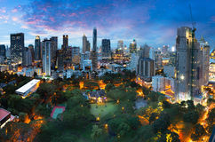 Bangkok city. Skyline at dusk, Business district area of Bangkok Thailand Stock Photography