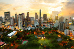 Bangkok city. Skyline at dusk, Business district area of Bangkok Thailand Royalty Free Stock Image