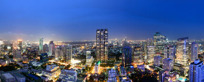Bangkok city skyline. Bangkok city in night time Stock Photos