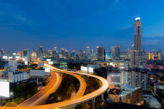 Bangkok City Skyline after office hour twilight Stock Photo