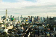 Bangkok city skyline and skyscrapers building at sunset in Bangk Royalty Free Stock Image