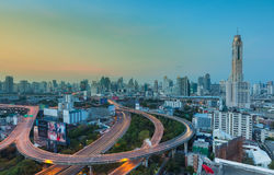 Bangkok city sunrise view with main hightway traffic Stock Photo