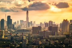 Bangkok City At Sunset With Filter Effect. When Global warming in downtown royalty free stock photography