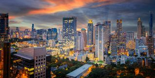 Bangkok city sunset and light in inght time Royalty Free Stock Photos