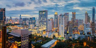 Bangkok city sunset and light in inght time Royalty Free Stock Photography