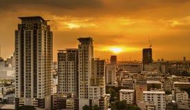 Bangkok city on sunset Stock Photos
