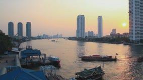 Bangkok  city with sunset stock video