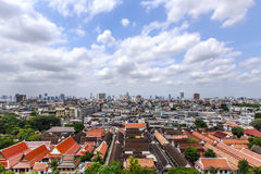 Bangkok city and temple view on Golden Mountain temple Stock Photos