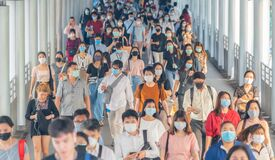 Bangkok City, Thailand : 03/12/2020 : Unidentified people, Crowd of Thai wearing face mask for health due to Coronavirus Disease