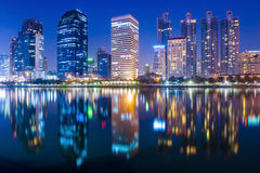 Bangkok city at twiligh with reflection Stock Photo