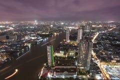 Bangkok city at twilight. Whit express way and cho pra-ya river, Thailand Stock Photos