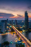 Bangkok city in twilight time from above. Royalty Free Stock Image