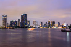 Bangkok City at twilight time , Chao Phraya River view , Thailan Stock Photo