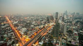 Bangkok city at twilight time lapse stock video footage