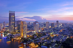 Bangkok city. Urban City Skyline at night, Bangkok Thailand Stock Photo