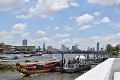 Bangkok cityfrom river side. Bangkok, Thailand - April 9, 2017 : Bangkok city and river view from river side royalty free stock images