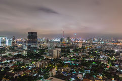 Bangkok cityscape. Bangkok night view in the business district. Royalty Free Stock Image