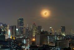 Bangkok cityscape. Bangkok river view with full moon at night Stock Images