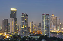 Bangkok cityscape. Bangkok river view at twilight time Royalty Free Stock Image