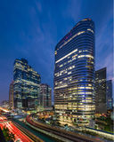 Bangkok cityscape at business area. With twilight time Stock Photos