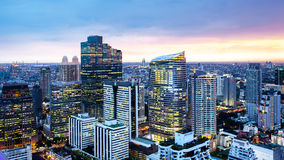 Bangkok Cityscape, Business district with high building at dusk Royalty Free Stock Photo