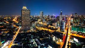 Bangkok cityscape. Business district with high building at dusk, Bangkok Thailand Royalty Free Stock Images