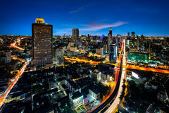 Bangkok cityscape business district with high building at dusk Royalty Free Stock Photos