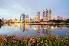 Bangkok Cityscape, Business district with Park in the City Stock Photos