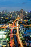 Bangkok cityscape with canal at night Stock Photos