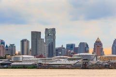 Bangkok cityscape and Chao Phraya River stock photography