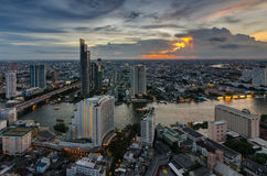 Bangkok cityscape and Chaophraya River. With beautiful cloud Royalty Free Stock Photo