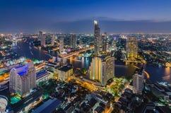 Bangkok cityscape and Chaophraya River. At night Royalty Free Stock Images