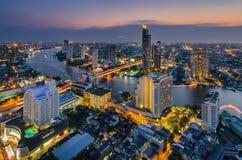 Bangkok cityscape and Chaophraya River. At night Stock Image