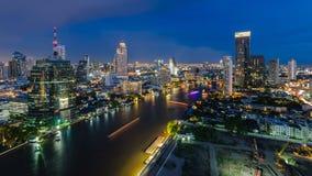 Bangkok cityscape and Chaophraya River. At night Stock Photo