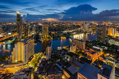 Bangkok cityscape and Chaophraya River. At twilight time Royalty Free Stock Photography