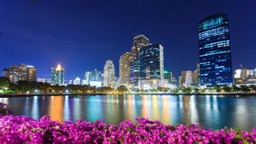 Bangkok cityscape at dusk. At Benchakitti Park Royalty Free Stock Photography